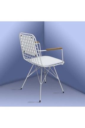 Theia Tasarım Kolçaklı Ve Sırt Minderli Beyaz Tel Sandalye 3