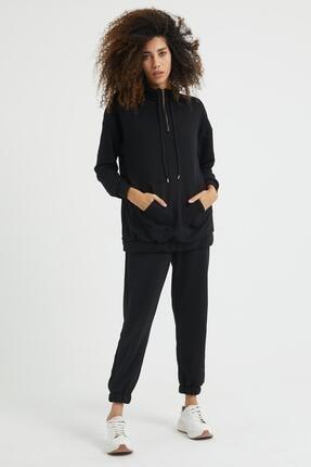 Giyinsende Kadın Siyah Fermuarlı Kanguru Cep Eşofman Takımı 0