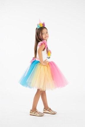 Minik Dolap Kız Çocuk Pembe Taçlı Unicorn Parti Elbisesi 1