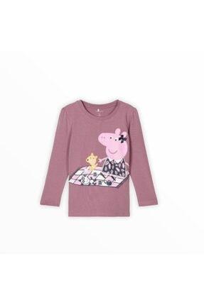 name it Kız Çocuk Pembe Peppa Pig Baskılı T-shirt 0