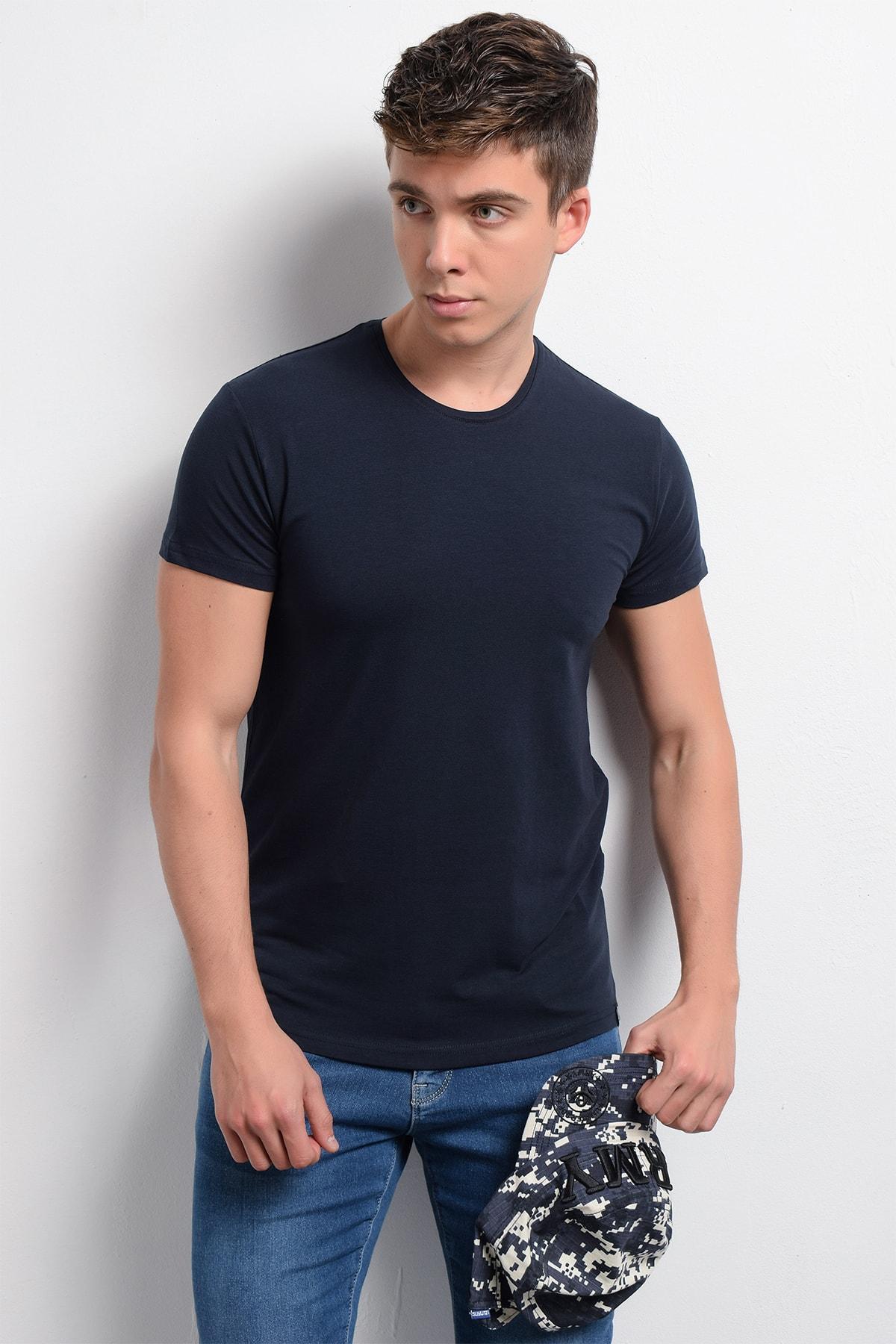 Rodi Rd19ye279976 Lacivert Erkek Lyrca Süprem Bis. Yaka T-shirt