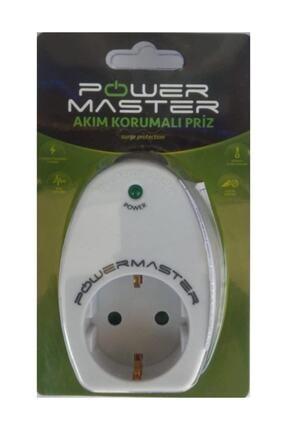 Powermaster Led Işıklı Beyaz Akım Korumalı Priz 0