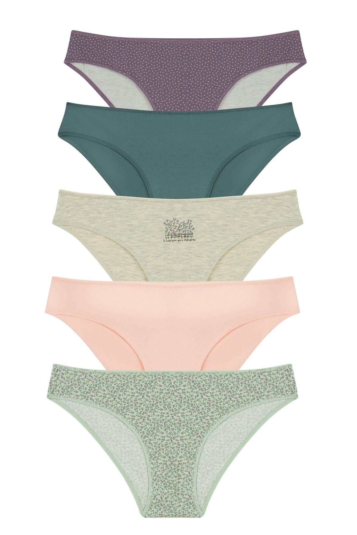 Penti Kadın Çok Renkli Whole Garden 5Li Slip Külot 0