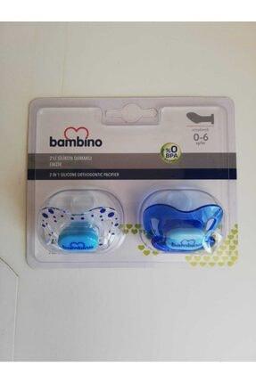 Bambino Mavi 2 li Silikon Damaklı Emzik 0