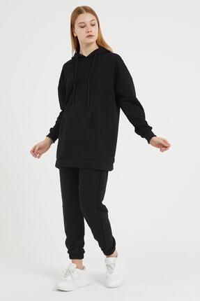Giyinsende Kanguru Cep Eşofman Takımı Siyah 3