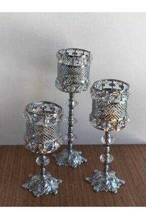 Gümüş 3lü Şamdan şamdan