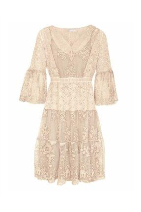 Bulalgiy Kadın Krem Dantelli Nakışlı 2 Parça Elbise - Bga098323ts 0
