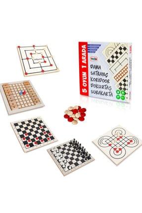 BEMİ Teda Lüks Ahşap 5 Oyun 1 Arada - Beceri Eğitici Zeka Strateji Çocuk Ve Aile Oyunu 0