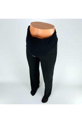 Boru Paça Ince Kemer Toka Detaylı Ribonalı Siyah Hamile Pantolon HP007