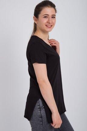 Kadın Modası Kadın Siyah V Yaka Alt Kesik Yırtmaçlı T-shirt 2