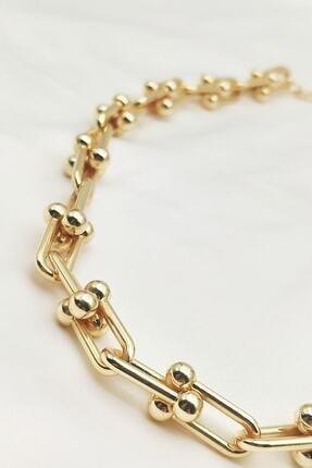 Lolita Takı Kadın Altın Sarısı Renk Kalın Zincir Kolye 1