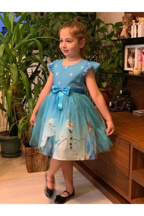 Pumpido Kız Çocuk Mavi Karlar Ülkesi Elsa Prenses Elbisesi 0