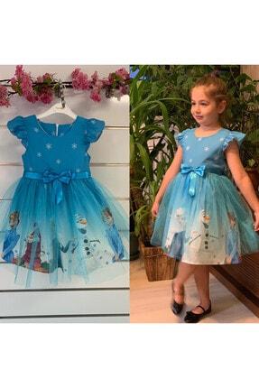 Pumpido Kız Çocuk Mavi Karlar Ülkesi Elsa Prenses Elbisesi 1
