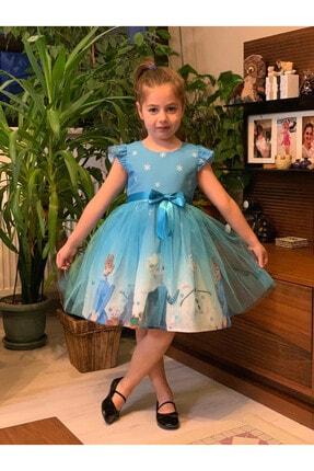 Pumpido Kız Çocuk Mavi Karlar Ülkesi Elsa Prenses Elbisesi 2
