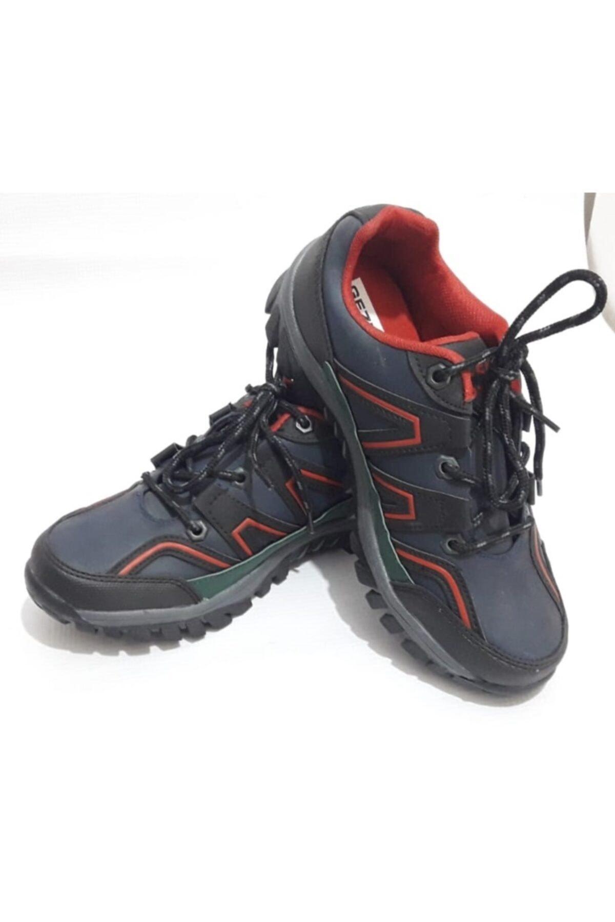 Unisex Lacivert Kırmızı Çizgili Kışlık Kaydırmaz Ayakkabı Bot