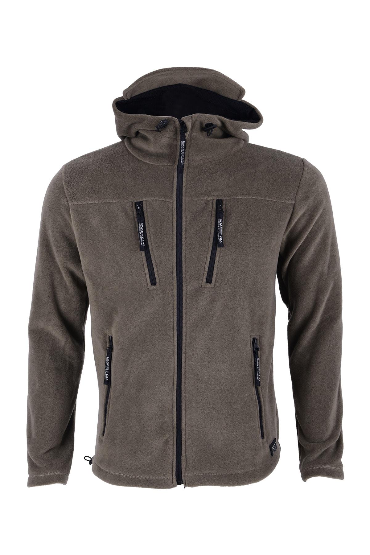 Erkek Haki Army Tactical  Polar Kapüşonlu Ceket