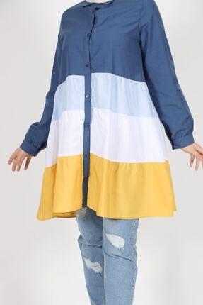 kombinal Kadın Lacivert Terikoton Kumaş Gömlek Tunik 7101 3