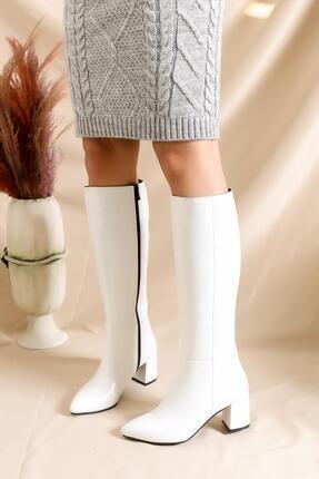Deripabuc Hakiki Deri Beyaz Rugan Kadın Deri Çizme Dp02-0404 0