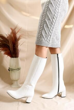 Deripabuc Hakiki Deri Beyaz Rugan Kadın Deri Çizme Dp02-0404 1