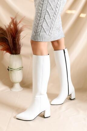 Deripabuc Hakiki Deri Beyaz Rugan Kadın Deri Çizme Dp02-0404 2