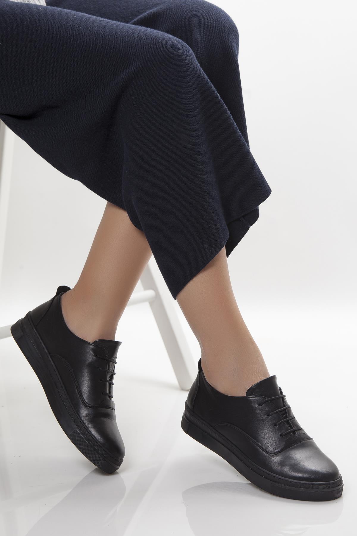 Hakiki Deri Siyah Siyah Kadın Deri Sneaker Vns-m01