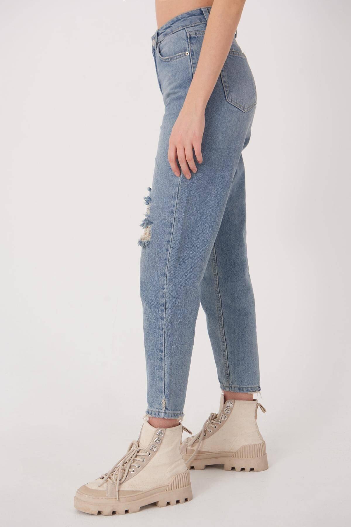 Addax Kadın Kot Rengi Yırtık Detaylı Jean Pantolon Pn7073 - Pnj Adx-0000023699 1