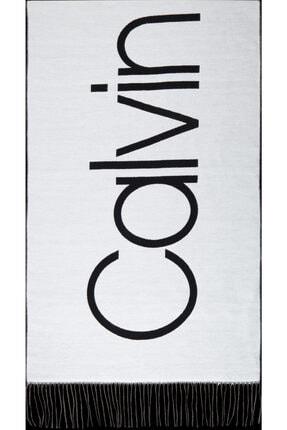 Calvin Klein Kadın Beyaz Baskılı Şal 0