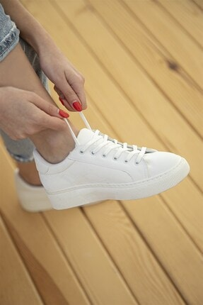 Straswans Kadın Sweet Deri Spor Ayakkabı Beyaz 2