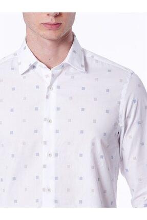 Dufy Beyaz Bej Kare Desenli Ince Dokuma Erkek Gömlek - Slım Fıt 2