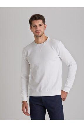 Dufy Erkek Beyaz Düz  Slım Fıt Sweatshirt 0