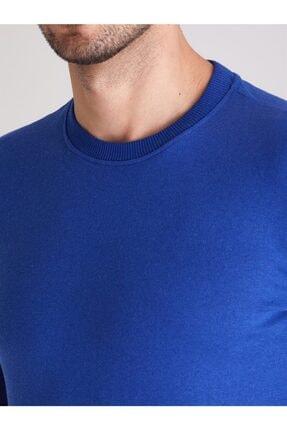 Dufy Erkek Saks Bisiklet Yaka Düz  Slım Fıt Sweatshirt 1