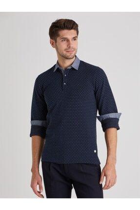 Dufy Erkek Lacivert Polo Yaka Baskılı  Sweatshirt 3