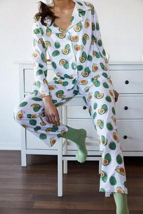 Xena Kadın Beyaz & Yeşil Avokado Desenli Pijama Takımı 1KZK8-11024-78 0