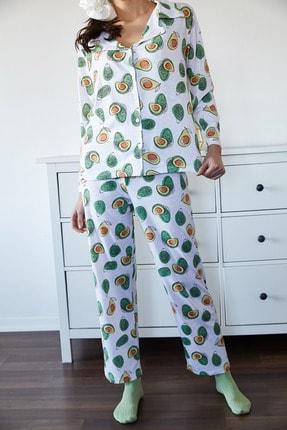 Xena Kadın Beyaz & Yeşil Avokado Desenli Pijama Takımı 1KZK8-11024-78 3