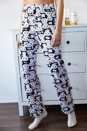 Xena Kadın Beyaz Panda Baskılı Pijama Altı 1KZK8-11162-01 1
