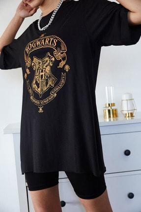 Xena Kadın Siyah Baskılı Yırtmaçlı Boyfriend T-Shirt 1KZK1-11144-34 3