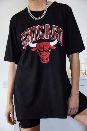 Xena Kadın Siyah Baskılı Yırtmaçlı Boyfriend T-Shirt 1KZK1-11149-02 3