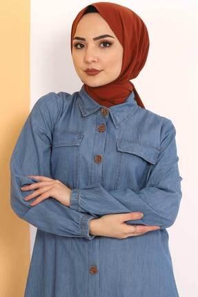 Tesettür Dünyası Kadın Açık Mavi Eteği Büzgü Detaylı Ikili Kot Takım Tsd0450 1