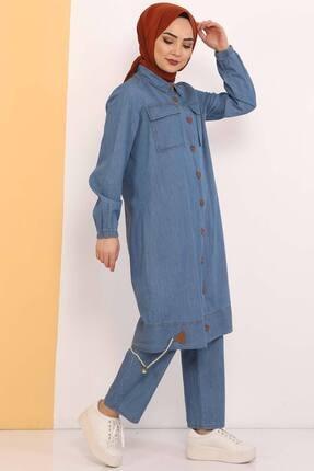 Tesettür Dünyası Kadın Açık Mavi Eteği Büzgü Detaylı Ikili Kot Takım Tsd0450 3