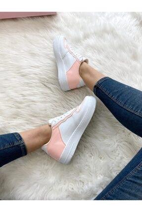 ELSESHOES Kadın Pudra Beyaz Sneaker 2