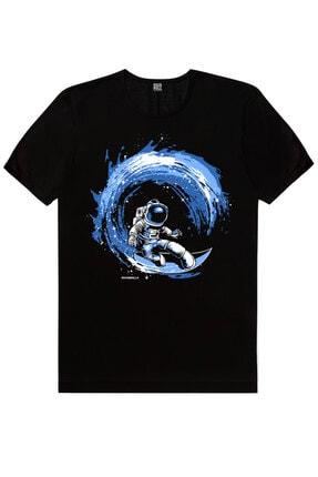 Rock & Roll Erkek Siyah Galaktik Sörfcü Kısa Kollu T-shirt 0