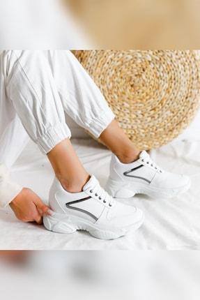 Limoya Kadın Beyaz Gümüş Detaylı Bağcıklı Gizli Topuklu Sneakers 4