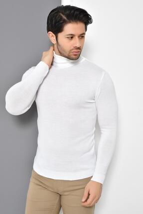 Tena Moda Erkek Beyaz Tam Balıkçı Yaka Basic Triko Kazak 1
