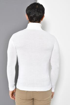 Tena Moda Erkek Beyaz Tam Balıkçı Yaka Basic Triko Kazak 4