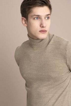 Tena Moda Erkek Vizon Melanj Tam Balıkçı Yaka Basic Triko Kazak 1