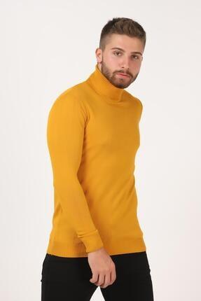 Tena Moda Erkek Hardal Tam Balıkçı Yaka Basic Triko Kazak 1