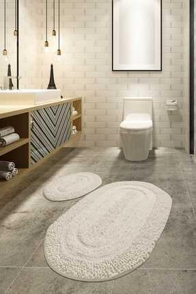 Chilai Home MACORONİ EKRU 2 Lİ SET Banyo Halısı, Paspası %100 Doğal Pamuklu 0