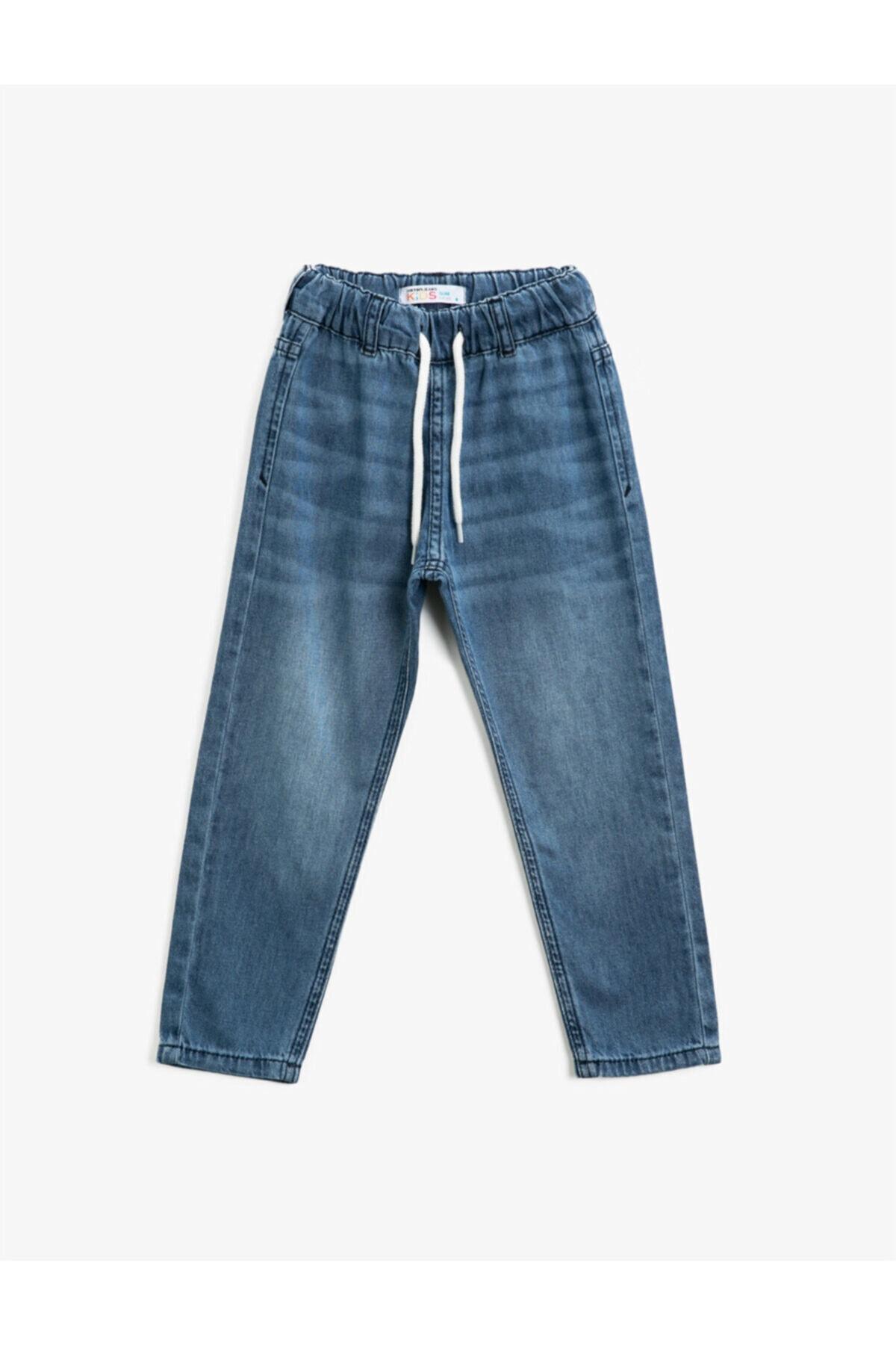 Erkek Çocuk Mavi Beli Bağlamalı Pamuklu Jean