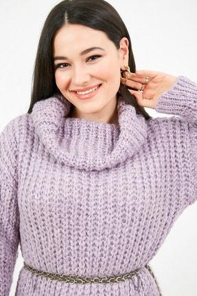 Sateen Kadın Lila Balıkçı Yaka Örme Triko Elbise  STN503KTR133 2