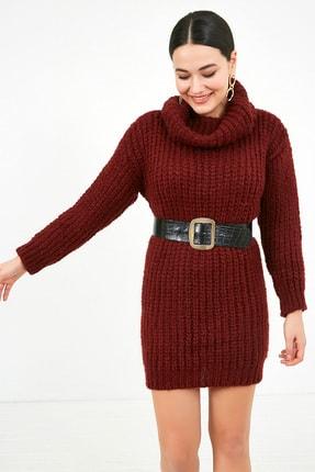 Sateen Kadın Bordo Balıkçı Yaka Örme Triko Elbise  STN503KTR133 0